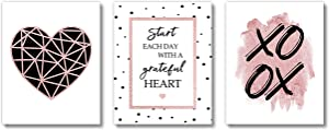 Brooke & Vine Inspirational Girl Room Wall Decor Art Prints (UNFRAMED 8 x 10) Women Office Teen, Tween, Kids, Motivational Posters Home, Bedroom, Dorm or Cubicle (Women Office - Grateful Heart)