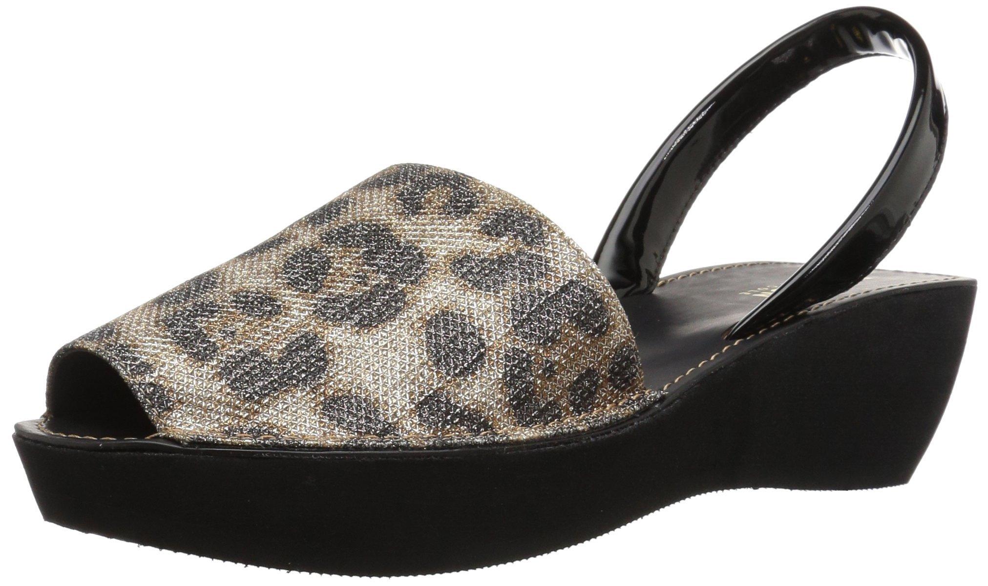 Kenneth Cole REACTION Women's Fine Glass Backstrap Wedge Sandal, Leopard, 9 M US