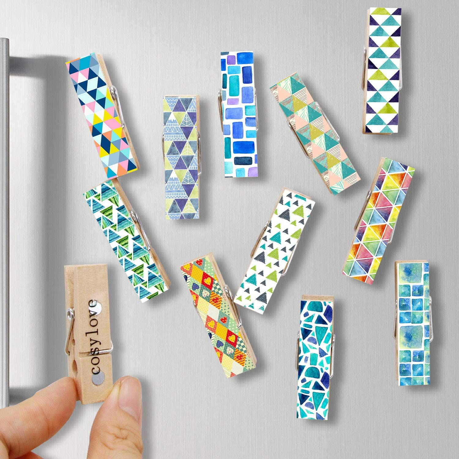 12pcs Refrigerator Magnet Clips by Cosylove-Decorative Magnetic Clips Made of Wood with Beautiful Patterns–Super Fridge Magnets for House Office Use - Display Photos,Memos, Lists, Calendars (Mosaic)