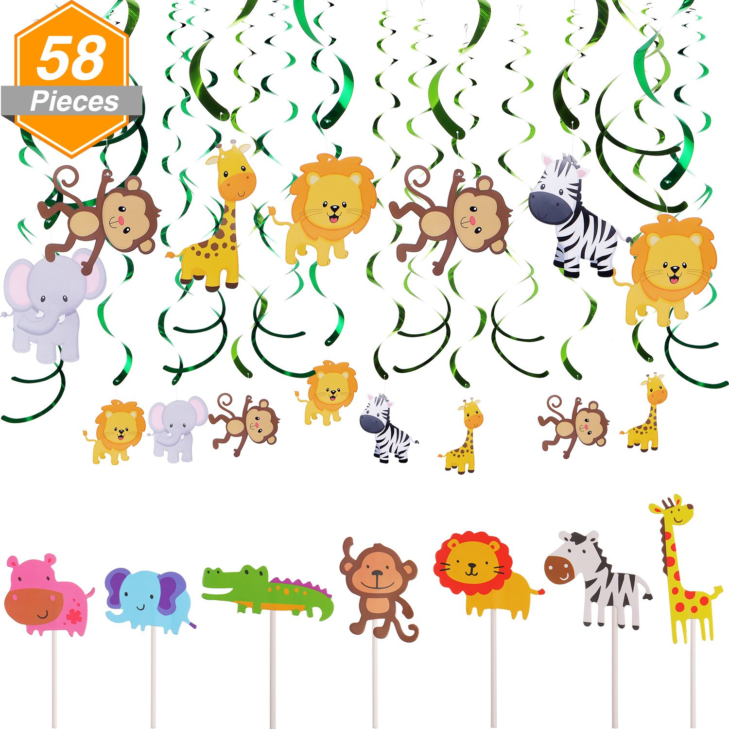 Jetec 28 Pieces Animal Cupcake Toppers Picks Jungle Animals Cake Toppers 30 Count Animals Hanging Swirl Decorations for Kids Baby Shower Forest Theme Birthday Wedding Party Cake Decoration
