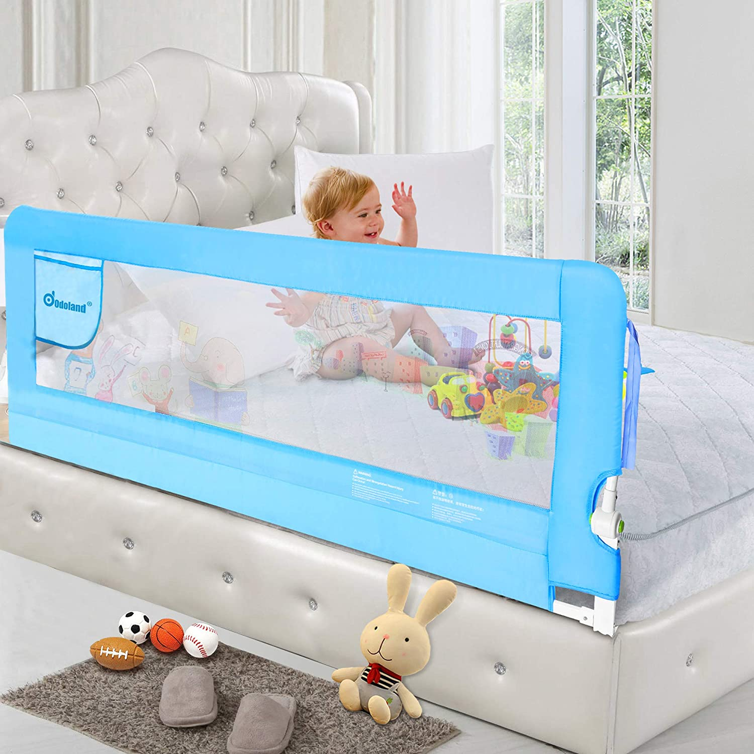ODOLAND 70in Bed Rail for Toddlers, Swing Down Safety Bed Rails Extra Long Bed Rails Guard Mesh Guard Rails for Convertible Crib, Kids Twin, Double, Full Size Queen King Mattress, Blue (1 Pack)