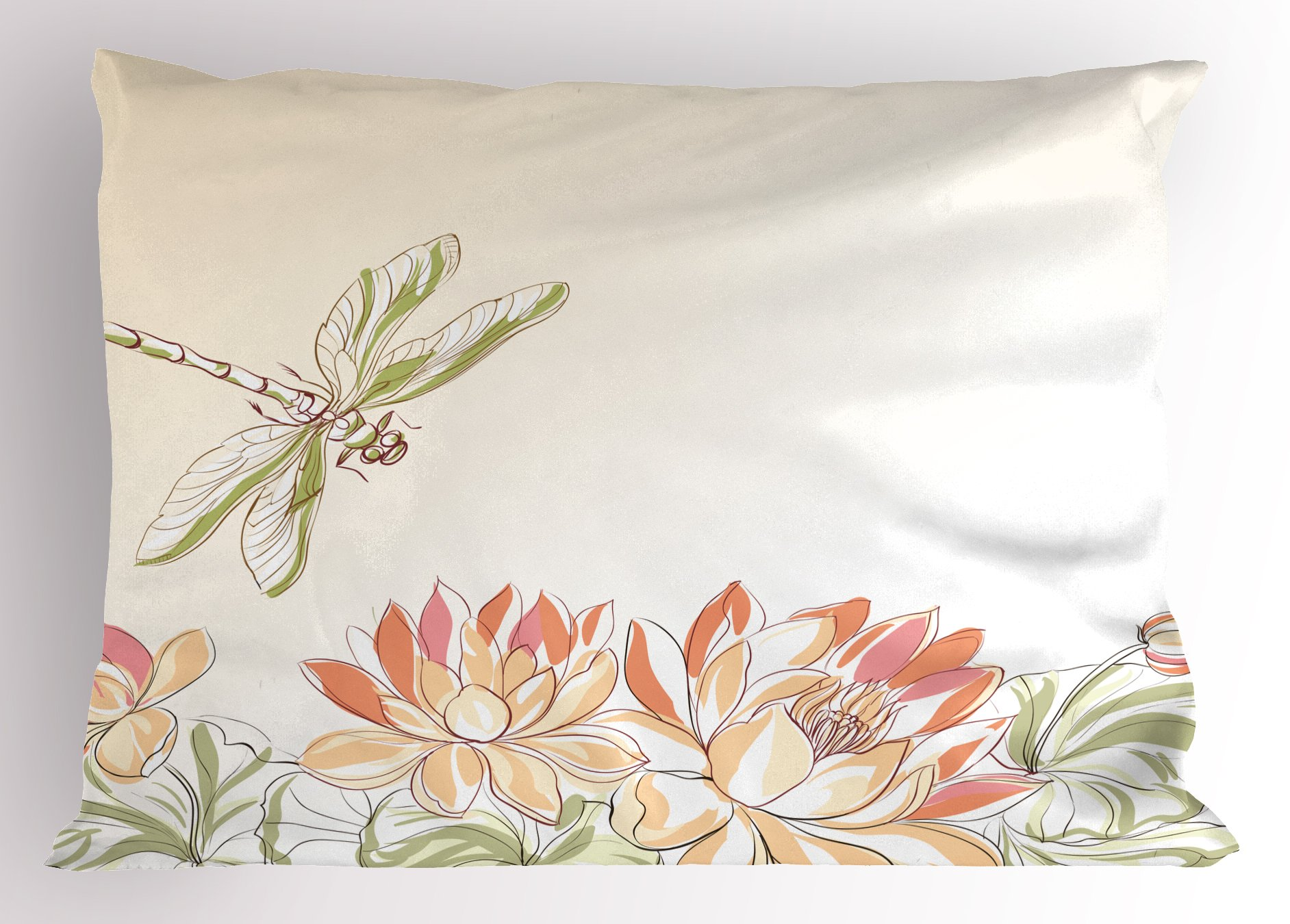 Ambesonne Dragonfly Pillow Sham, Lotus Flower Field Dragonfly Flying Oriental Blooms Artful Print, Decorative Standard King Size Printed Pillowcase, 36 X 20 inches, Cream Peach Coral