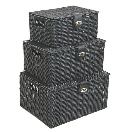 Arpan Set Of 3 Resin Woven Storage Basket Box With Lid U0026 Lock (Black)