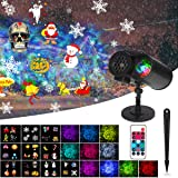 Dr. Prepare Christmas Projector Light with 10 Colorful Slides, 10 Ocean Wave Patterns, Remote Control, IP65 Waterproof LED Landscape Lamp for Indoor Outdoor Decoration Lighting of Party, Christmas, Halloween, Wedding, and Garden