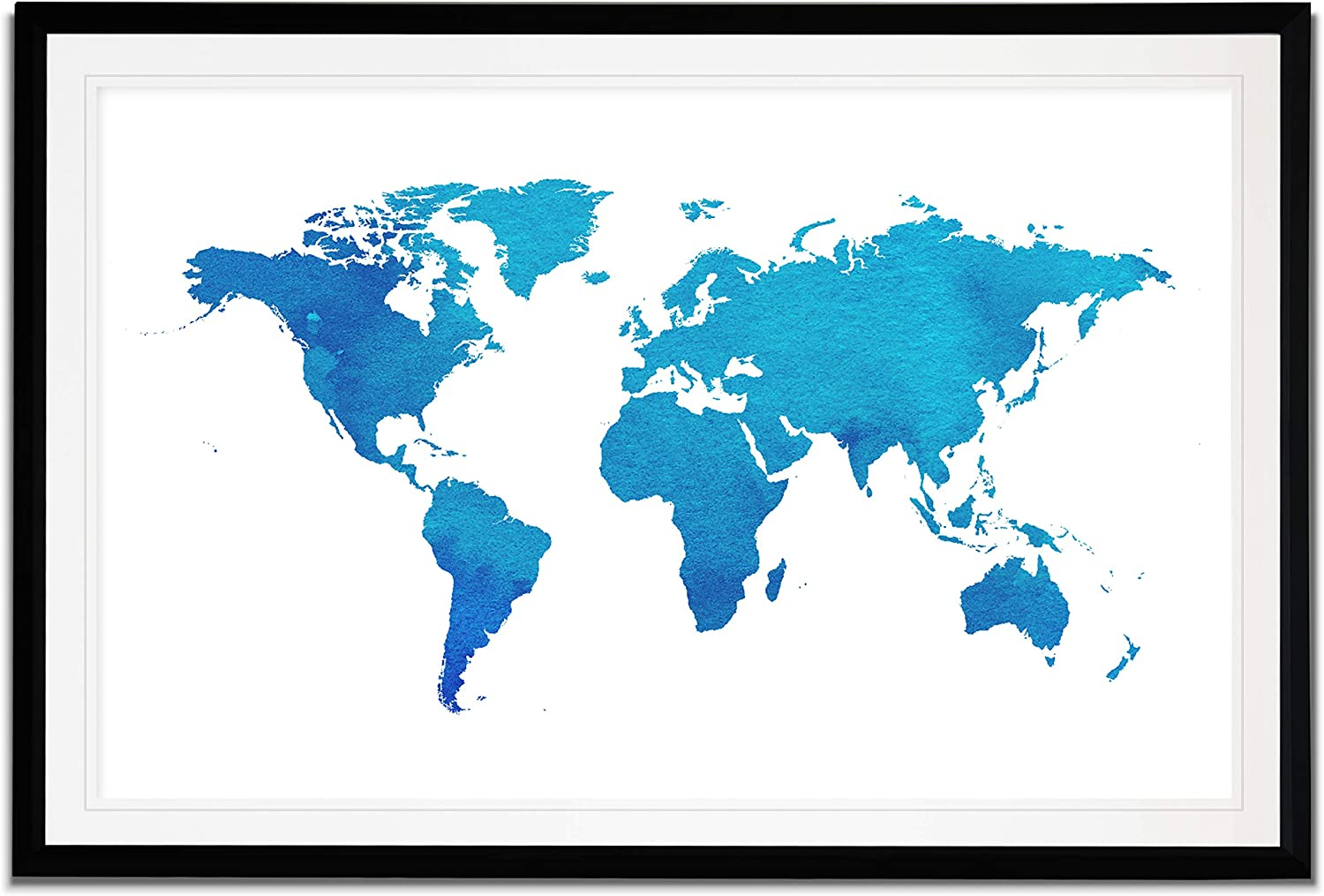 WEXFORD HOME Watercolor World Map Fine Giclee Prints Framed Wall Art, Ready to Hang, 12X18, Blue/Black