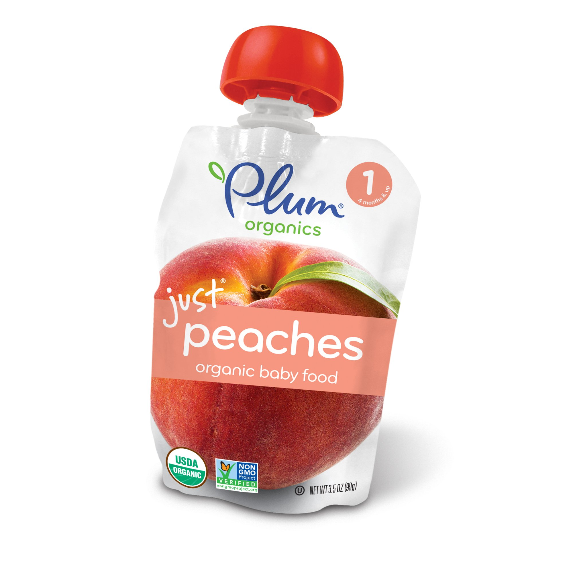 Plum Organics Stage 1, Organic Baby Food, Just Peaches, 3.5 ounce pouch (Pack of 12)