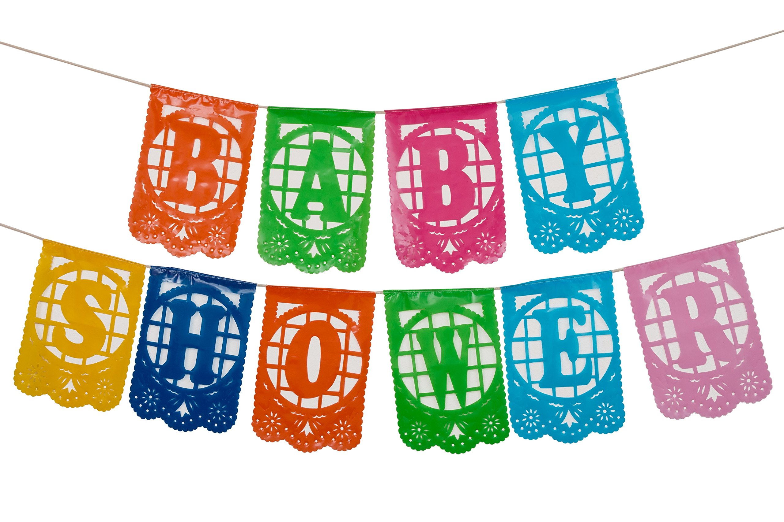 Mexican Plastic Papel Picado Banner -''Baby Shower'' - Ideal for Baby Shower, Gender Reveal, or Te De Canastilla Celebrations - Multi-Colored by Paper Full of Wishes