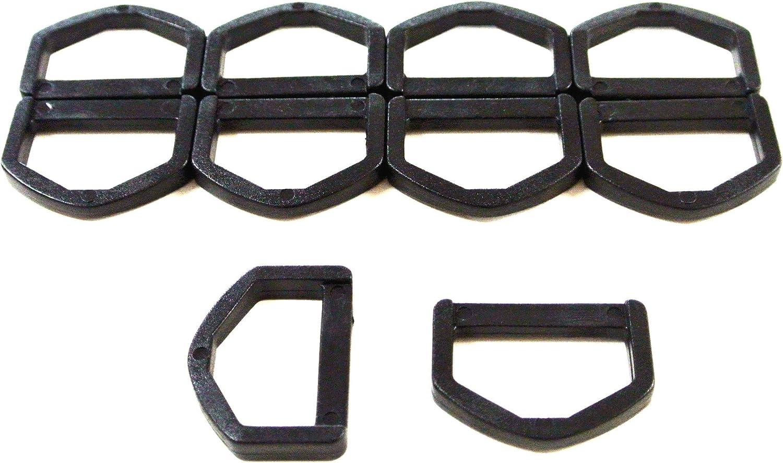 2 bar Loop Buckles 10  x 25 mm  Black Plastic