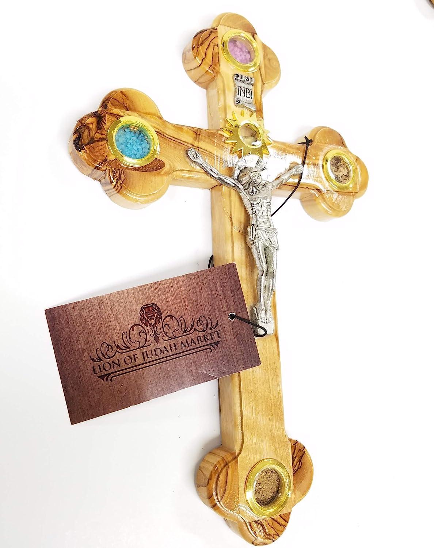 Kreuz Olivenholz handgefertigt aus Bethlehem mit heiligem Boden