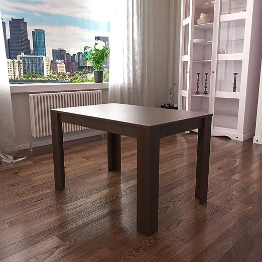 Modern Kitchen Dining Table 6 Seaters Rectangular Wooden Top Metal Legs Walnut