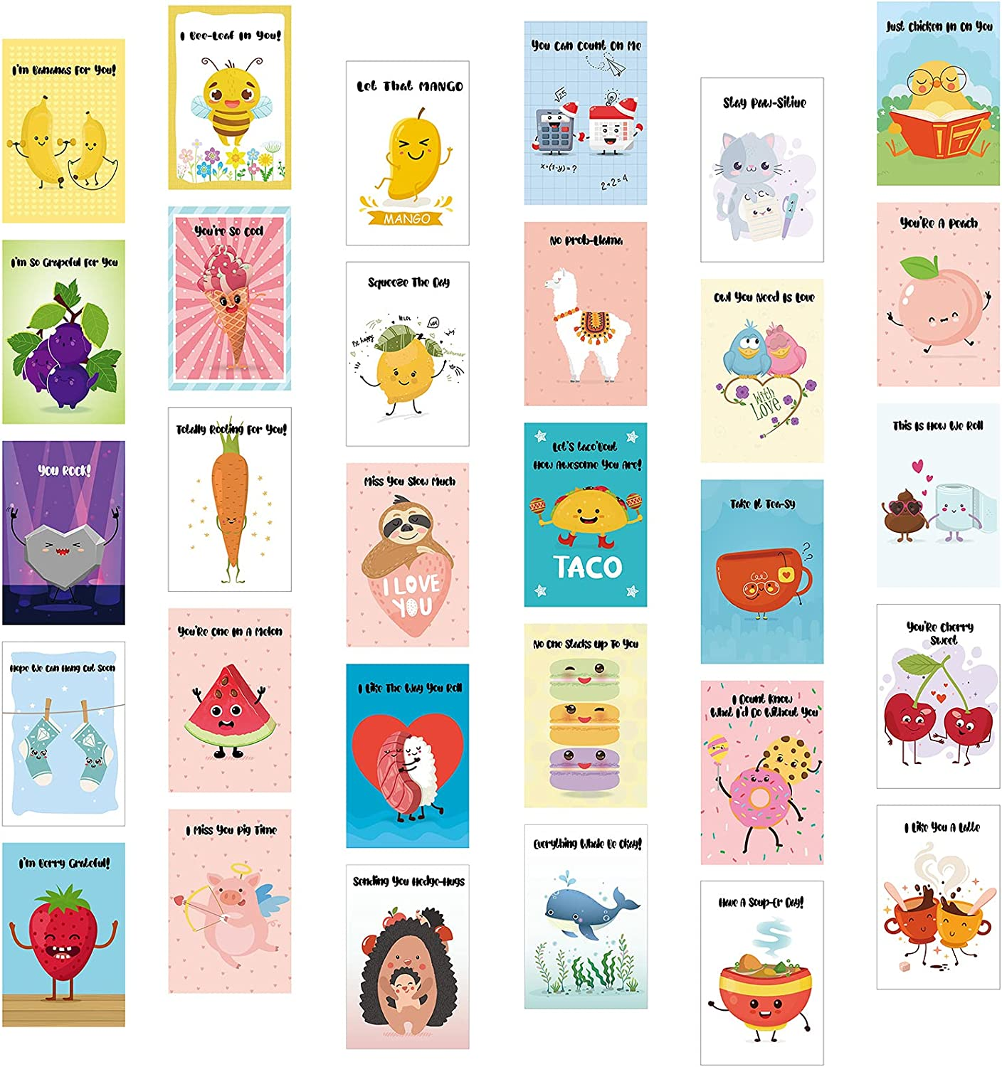 30 Pieces Funny Pun Cards with 30 Pieces Envelopes Set Funny Puns Hilarious Cards Animals and Food Cartoon Greeting Cards Punny Puns Note Cards for Friends, Birthday, Holiday Present