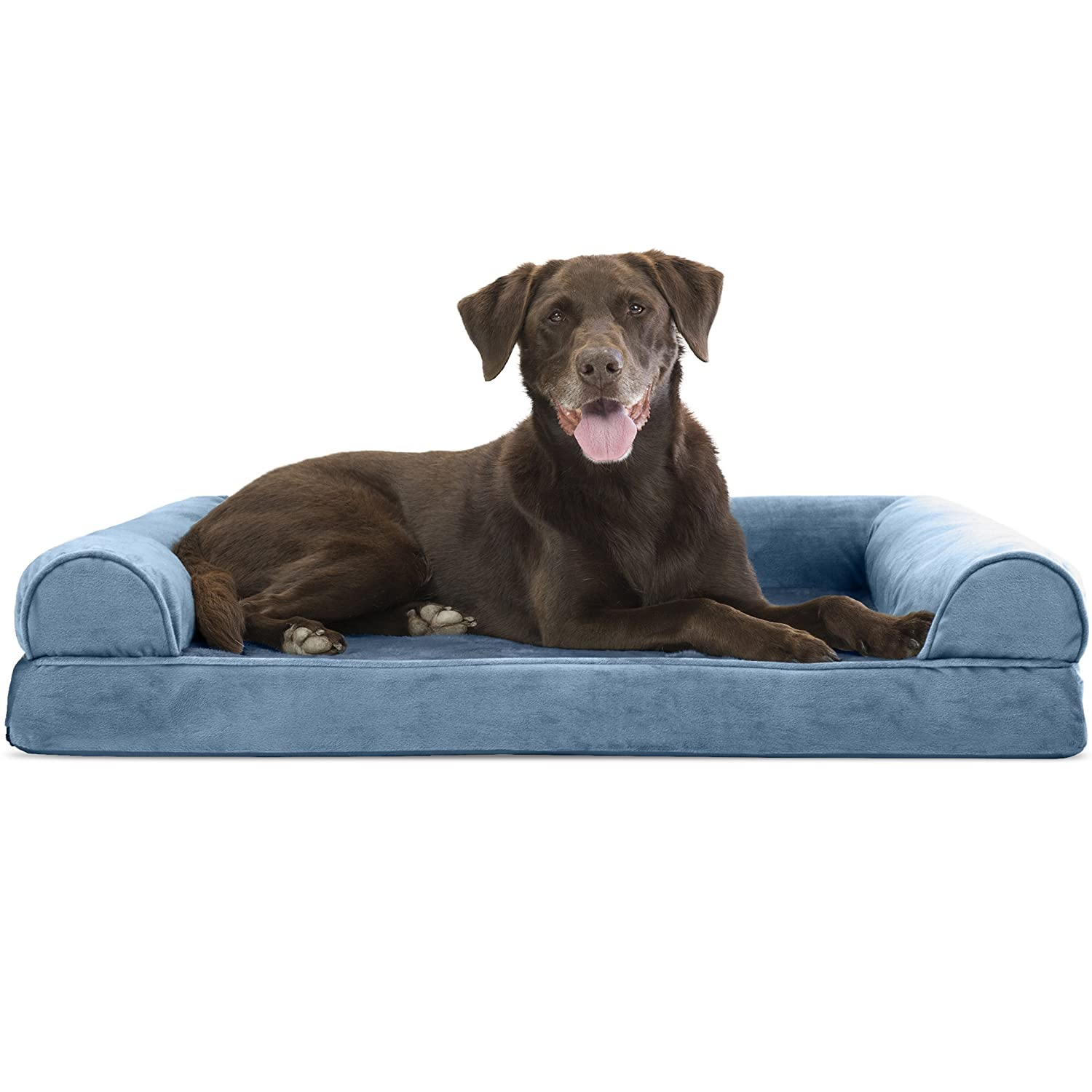 FurHaven Pet Dog Bed   Orthopedic Faux Fleece & Chenille Sofa-Style Couch Pet Bed for Dogs & Cats, Harbor bluee, Large