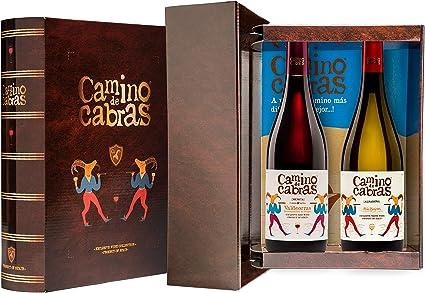 CAMINO DE CABRAS Estuche regalo – Producto Gourmet – Vino blanco - Albariño Rias Baixas + Vino tinto Crianza – Valdeorras – Mencía - Vino bueno para regalo - 2 botellas x 75cl: Amazon.es: Alimentación y bebidas