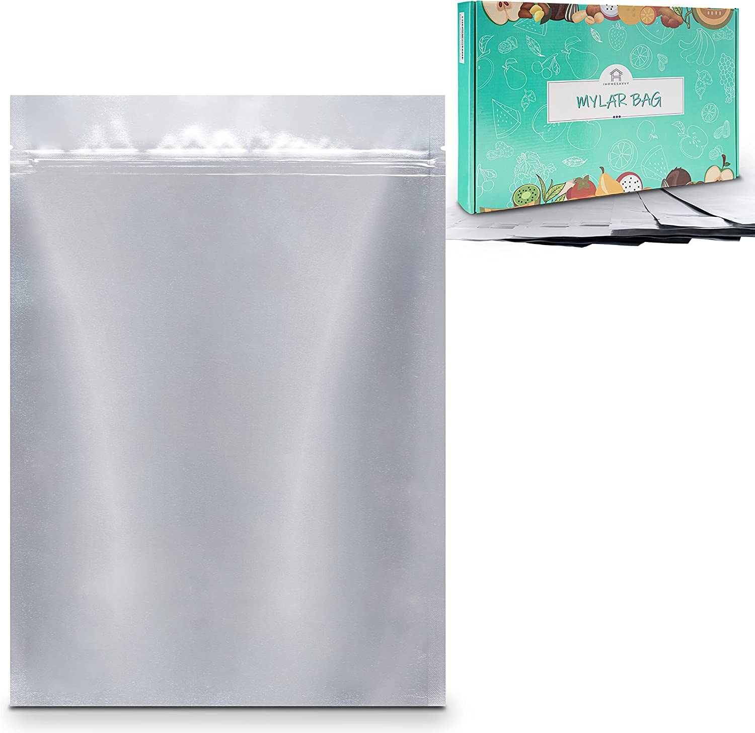 """IHOMESAVVY 100 Pack Mylar Bags – Flat Mylar Bags For Food Storage (Silver – 6"""" x 9"""") – Heat Sealable Bags - Long Term Food Storage & Food Survival"""
