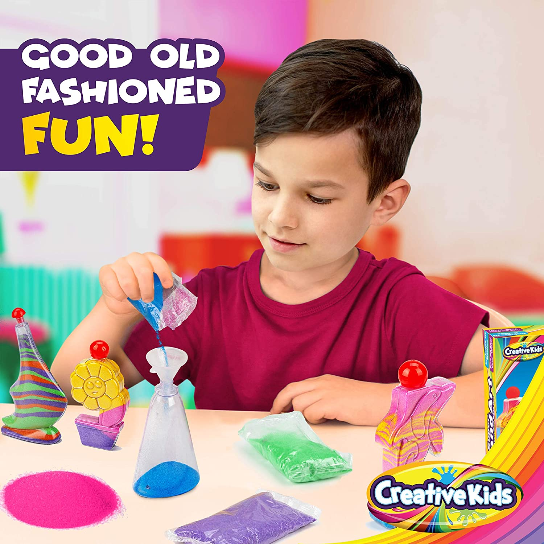 STEM Playset 10 x Vibrant Colored Sand Bags /& 1 x Glitter Bag 10 x Sand Art Bottles Creative Kids DIY Super Sand Art Activity Kit for Kids Gift for Boys /& Girls 3 + Create Your Own Crafts