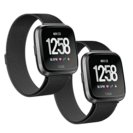 SWEES Metal Bands Compatible Fitbit Versa Smart Watch, 2 Pack Stainless Steel Metal Replacement Accessories Small Large Women Men, Silver, Black, Rose ...
