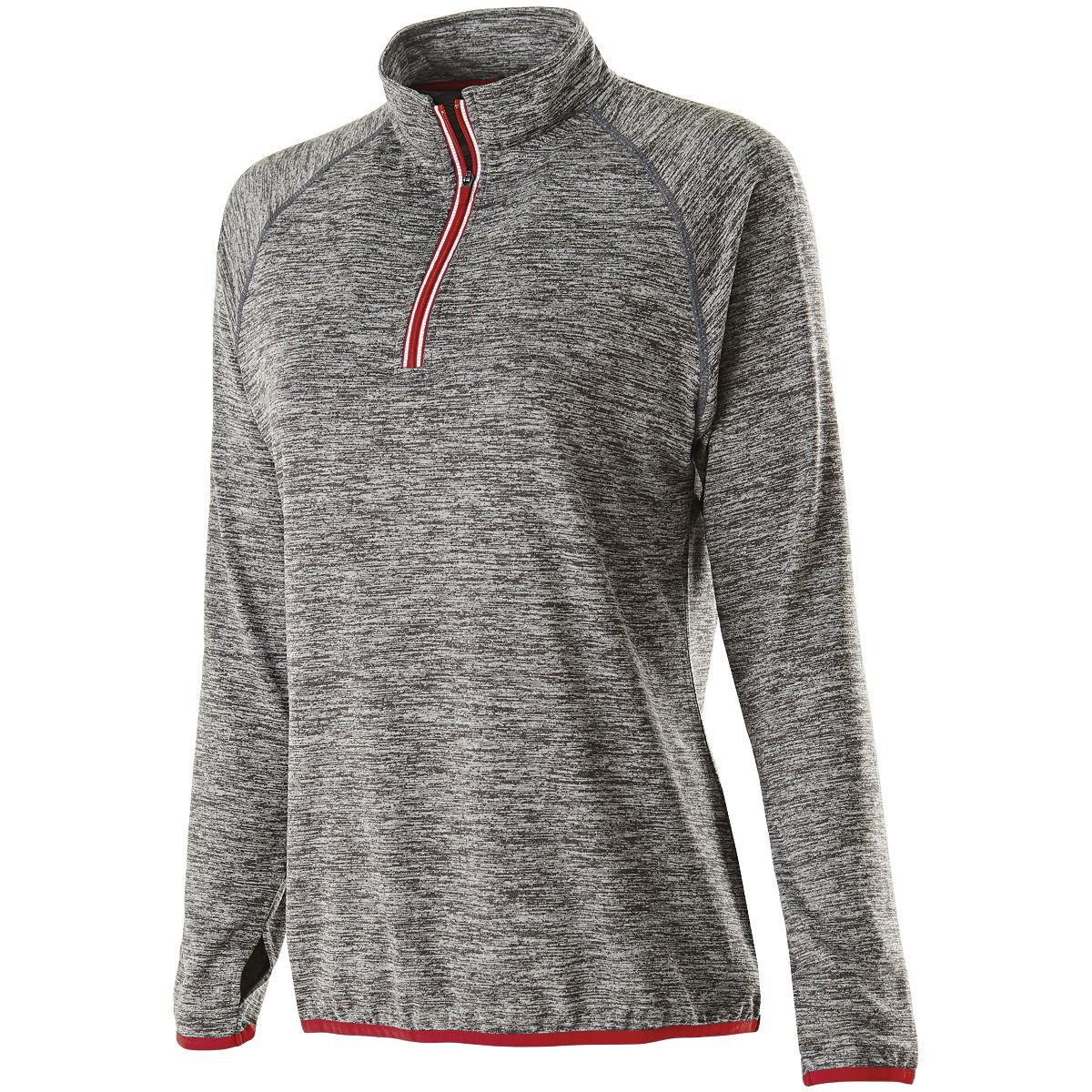 Holloway Sportswear WOMEN'S FORCE TRAINING TOP Women's XS Carbon Heather/Scarlet by Holloway