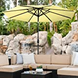 Best Choice Products 10-Foot Solar Powered Aluminum Polyester LED Lighted Patio Umbrella with Tilt Adjustment and Fade-Resistant Fabric, Lime Yellow