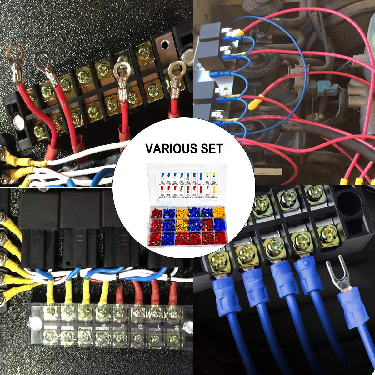 22-16//16-14//12-10 AWG Muhize Insulated Butt Spade Fork Ring Solderless Crimp Terminals Assortment Set 1200Pcs Mixed Assorted Lug Kit Quick Disconnect Electrical Wire Connectors Kit