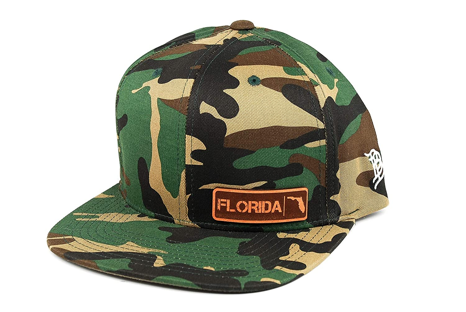 Branded Bills /'Florida / Native Leather Patch Snapback Hat OSFA//Camo
