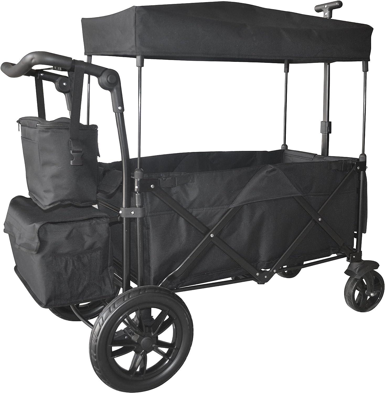 Black Push Pull Handle with Rear Foot Brake Outdoor Sport Folding Stroller Wagon Baby Trolley W Canopy Garden Utility Travel CART