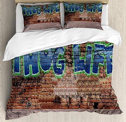 Amazon.com: Ambesonne Thug Life Duvet Cover Set, Graffiti ...