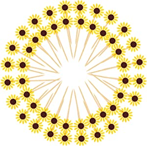 48 Pieces Sunflower Cupcake Toppers Party Sunflower Cupcake Picks Party Sunflower Decoration for Baby Shower Decor, Kids Birthday Decorations