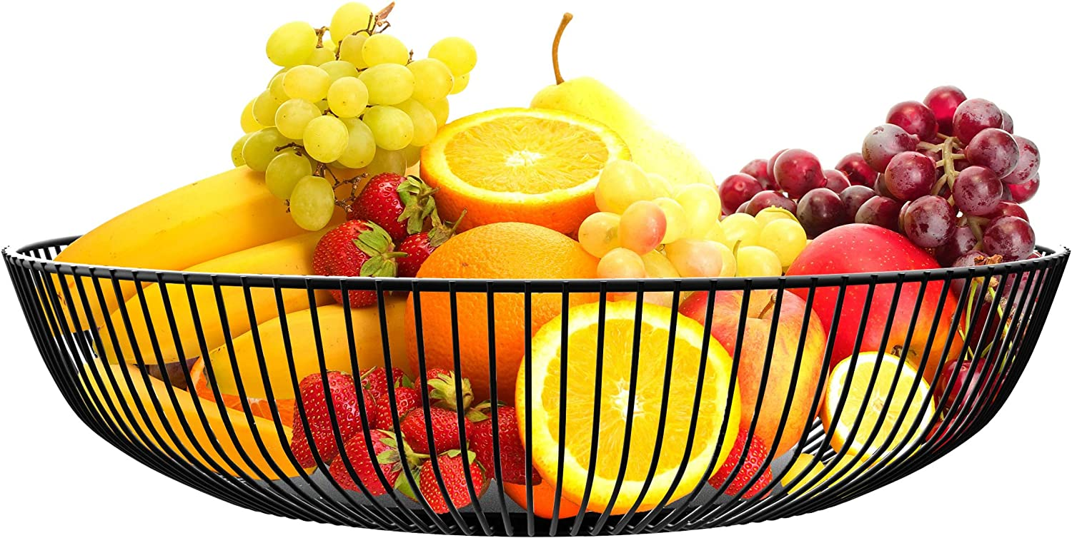 Fruit Bowl for Kitchen Counter by NUTRIUPS Metal Wire Fruit Basket, Mesh Countertop Fruit Holder Bowl for Kitchen Counter Modern,(Black) Powder-Coated Steel Frame