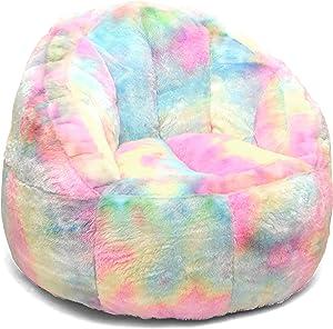Heritage Kids Sorbet Dreams Rainbow Fur Kids Bean Bag Chair