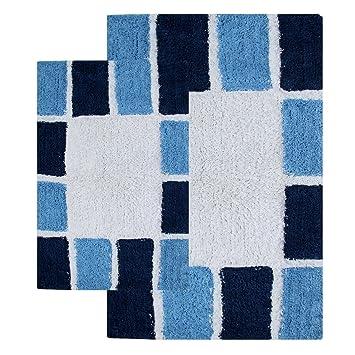Chesapeake Merchandising 2 Piece Mosaic Tiles Bath Rug Set, Navy And Milk