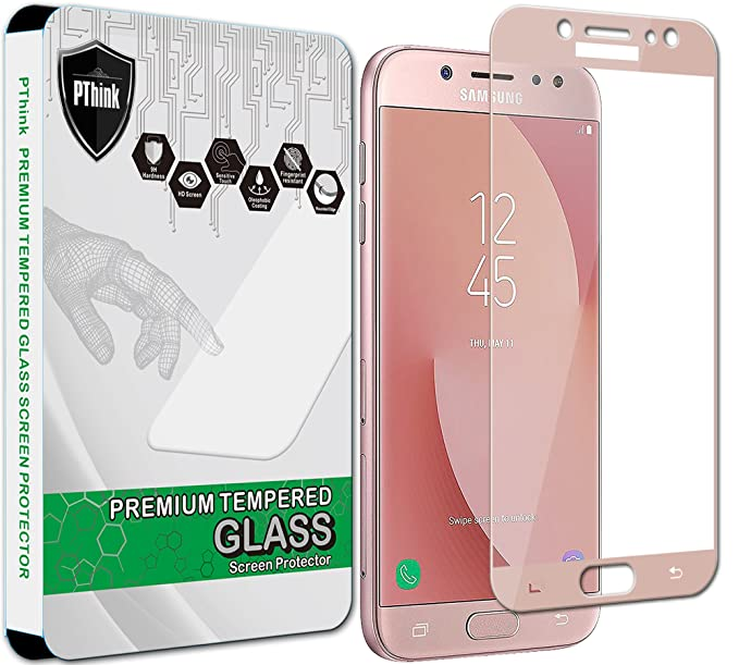best cheap b4c86 b6583 PThink [Full Screen Coverage Tempered Glass Screen Protector for Samsung  Galaxy J5 Pro J530G (2017) (Pink)