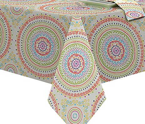 Circle Stitch Contemporary Print Indoor/Outdoor Soil Resistant Fabric  Tablecloth   70 Inch Round,