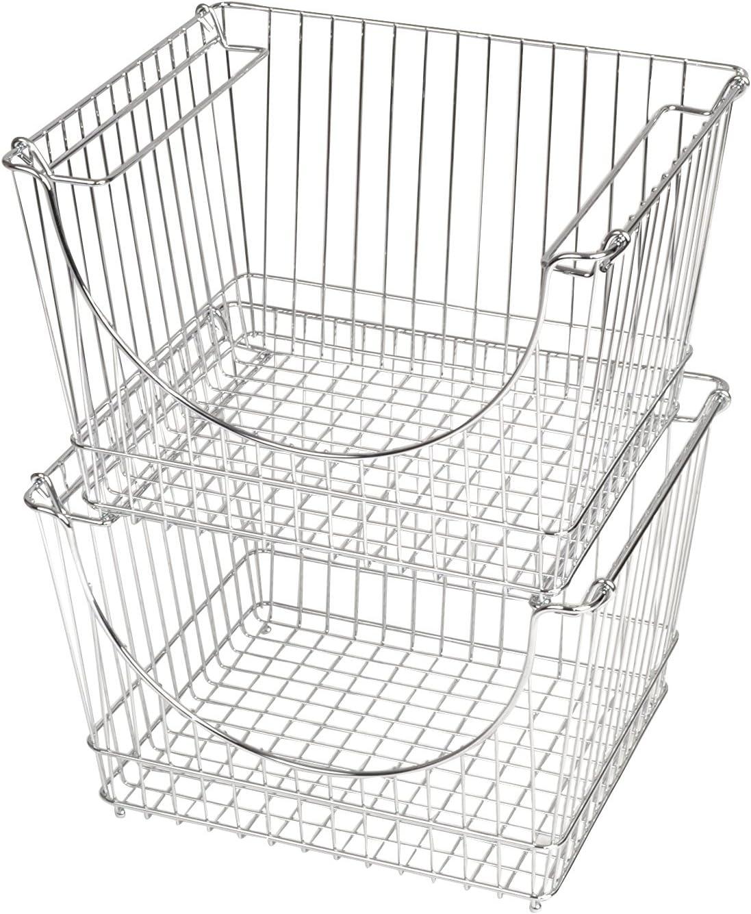 Smart Design Stacking Basket Bin Pantry Freezer Storage Organizer - Large (12.63 x 8.5 Inch) - Steel Metal Wire - Fruit, Vegetable, Onion, Potato, Cans - Kitchen [Chrome] - Set of 2