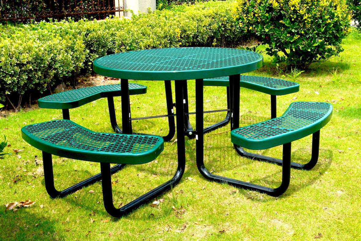 Lifeyard 46 Steel Round Picnic Table, Thermoplastic Coated, Green
