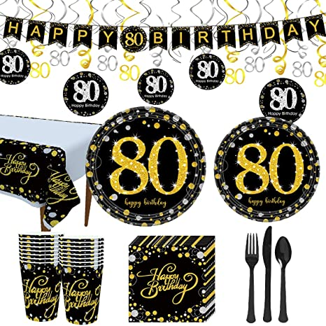 Trgowaul 80th Birthday Party Supplies - Black and Gold Disposable Paper Plates, Napkins, Cups, Tablecover Forks, Knives and Spoons for 16 Guests and ...