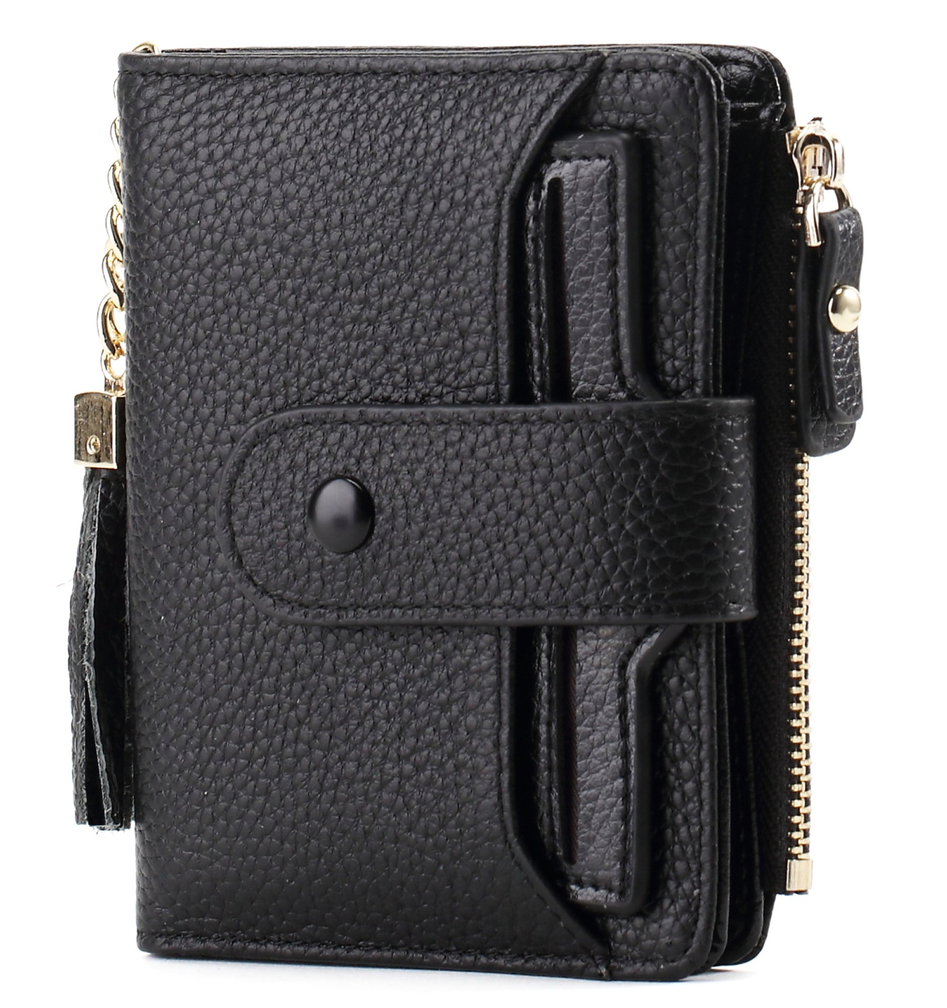 Women's Mini Soft Leather Wallet with ID Window Card Sleeve Bifold Wallet Coin Purse (black)