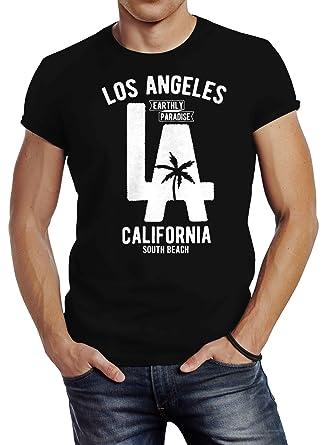 Neverless Herren T-Shirt Los Angeles California LA Palme Slim Fit Schwarz XS