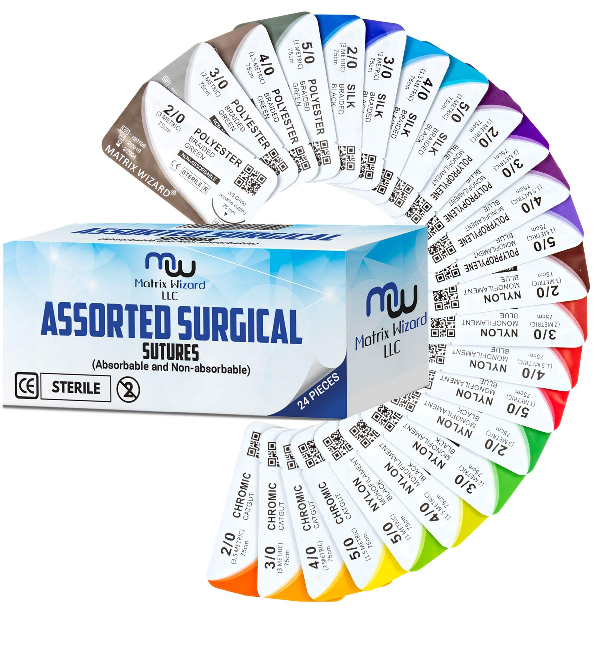 Mixed Sutures Thread with Needle (Absorbable: Chromic Catgut; Non-Absorbable: Nylon, Silk, Polyester, Polypropylene) - Surgical Wound Practice Kit, Emergency First Aid Demo (2-0, 3-0, 4-0, 5-0) 24Pk by Matrix Wizard (Image #1)