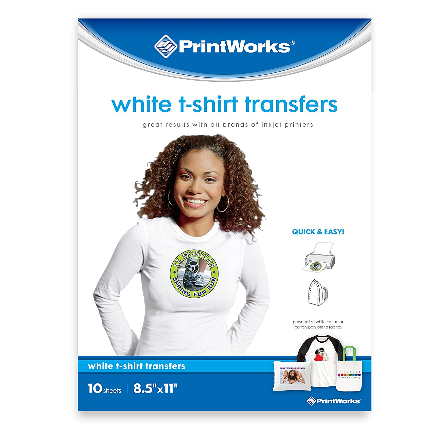 66bfd5e32 Amazon.com : Printworks White T-Shirt Transfers for Inkjet Printers, For  Use on White Fabrics Only, Photo Quality Prints, 10 Sheets, 8 ½