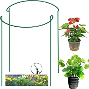 JOERRES 【2pcs】 Plant Stakes and Supports, Half Round Metal Garden Plant Support, Tomato Cage for Garden,Monstera Plant Garden Stakes,Plant Support Ring for Rose, Indoor Leafy Plants,Potted Plants.(2)
