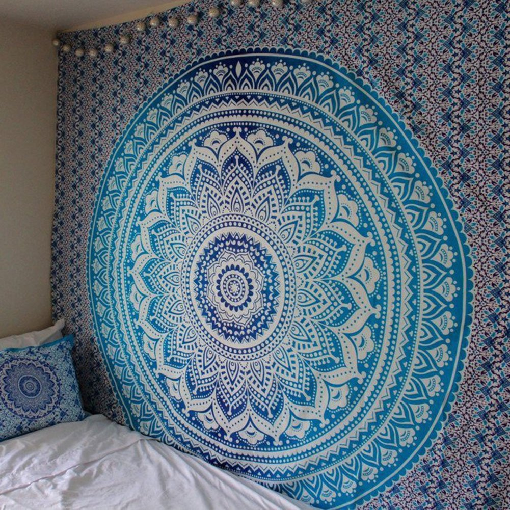 Popular Indian hippie mandala blue tapestry multi-purpose decorative wall hanging,Wall Tapestry (59W×59L, Black) Wall Tapestry (59W×59L QuanCheng