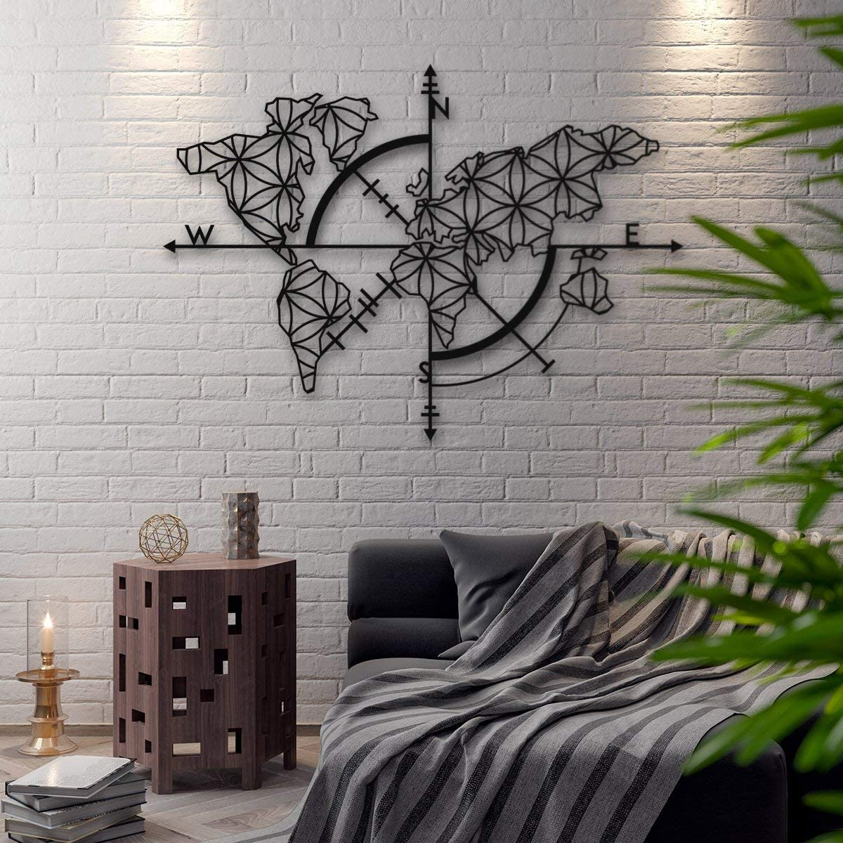 Bekata Map of Life, Metal Wall Art, World Map and Compass Themed Wall Decor Home Gift Housewarming Gift Wedding Gift 53 X 39 inches Carte Du Monde