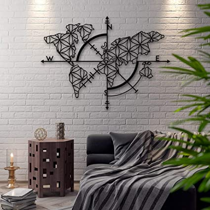 f78c918006 Amazon.com: Bekata Map of Life, Metal Wall Art, World Map and Compass  Themed Wall Decor Home Gift Housewarming Gift Wedding Gift 53 X 39 inches  Carte Du ...