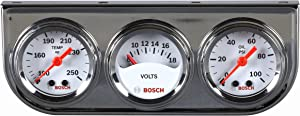 "Bosch SP0F000039 Style Line 1-1/2"" Mini Triple Gauge Kit (White Dial Face, Chrome Bezel)"