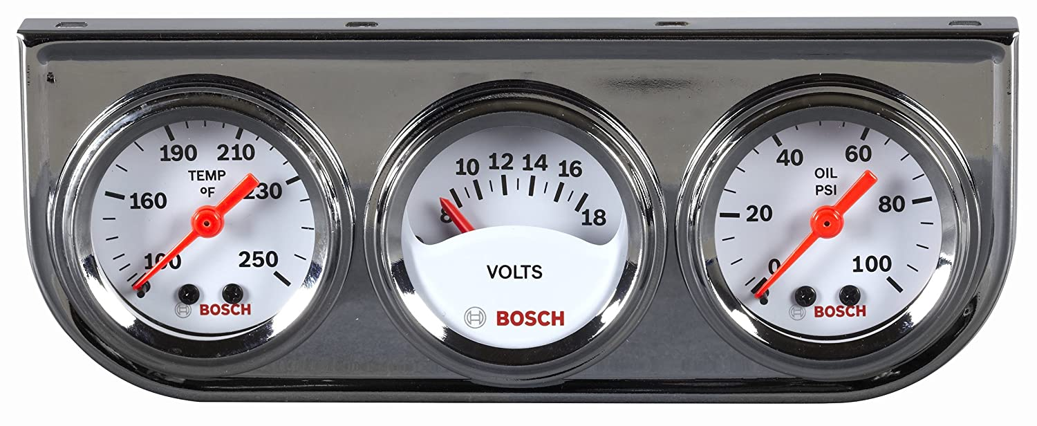 Bosch SP0F000039 Style Line 1-1/2' Mini Triple Gauge Kit (White Dial Face, Chrome Bezel)