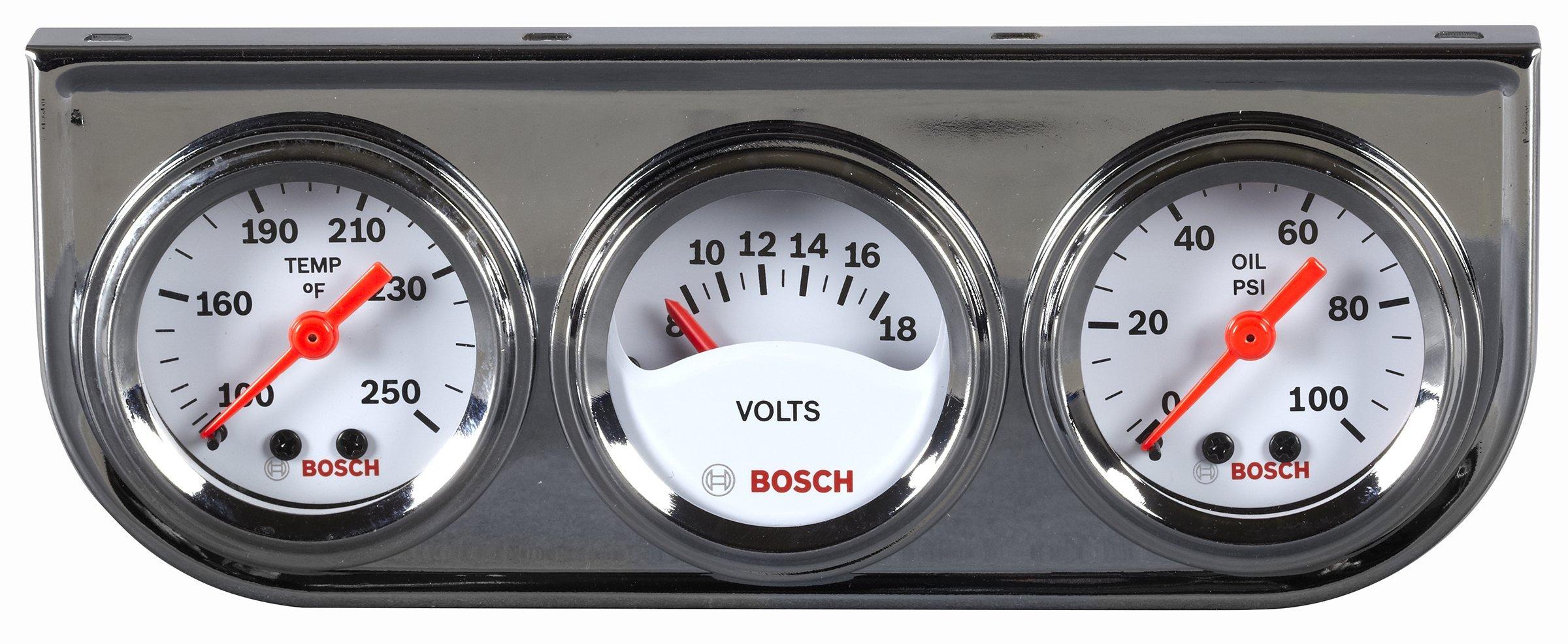Bosch SP0F000039 Style Line 1-1/2'' Mini Triple Gauge Kit (White Dial Face, Chrome Bezel) by Bosch Automotive