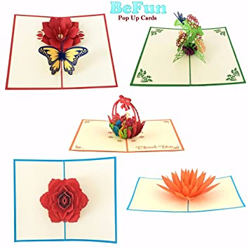 Amazon be fun pop up cards pack of 5 unique designs 3d paper be fun pop up cards pack of 5 unique designs 3d paper flowers greeting mightylinksfo