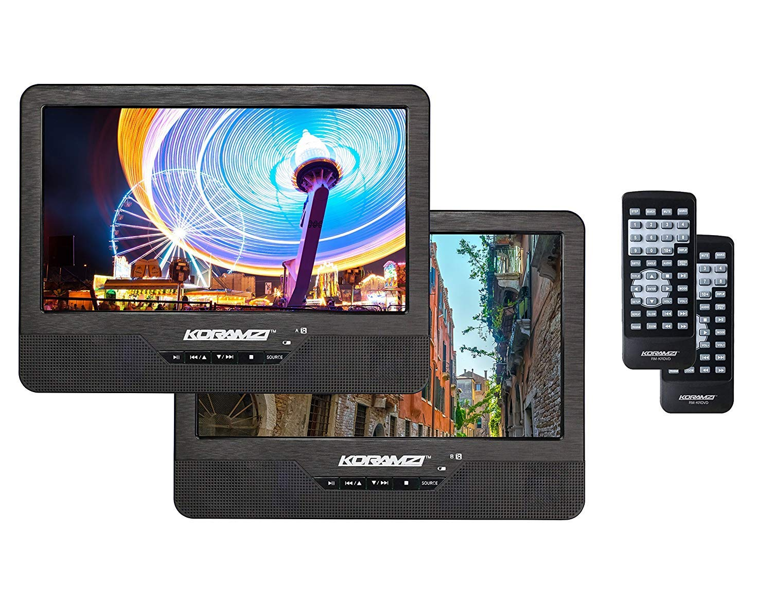 Koramzi Portable 9'' Dual Screen Dual DVD Player W Rechargeable Battery/AC Adapter/AV in/USB &SD Card Reader/Remote Control/Car Adapter/IR Transmitter Ready/USB/Headrest Mounting Kit by Koramzi