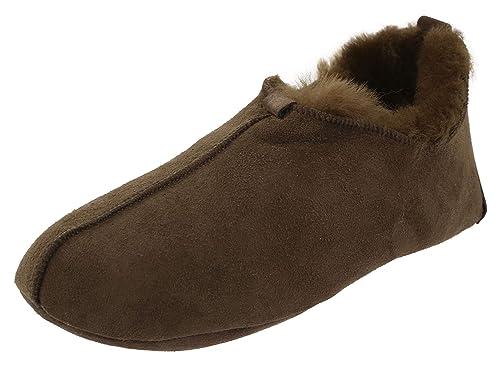 10575e329c0b Chausson Hommes Pantoufles Chaussons en Peau d agneau et Fourrure Mules  intérieur en Laine de