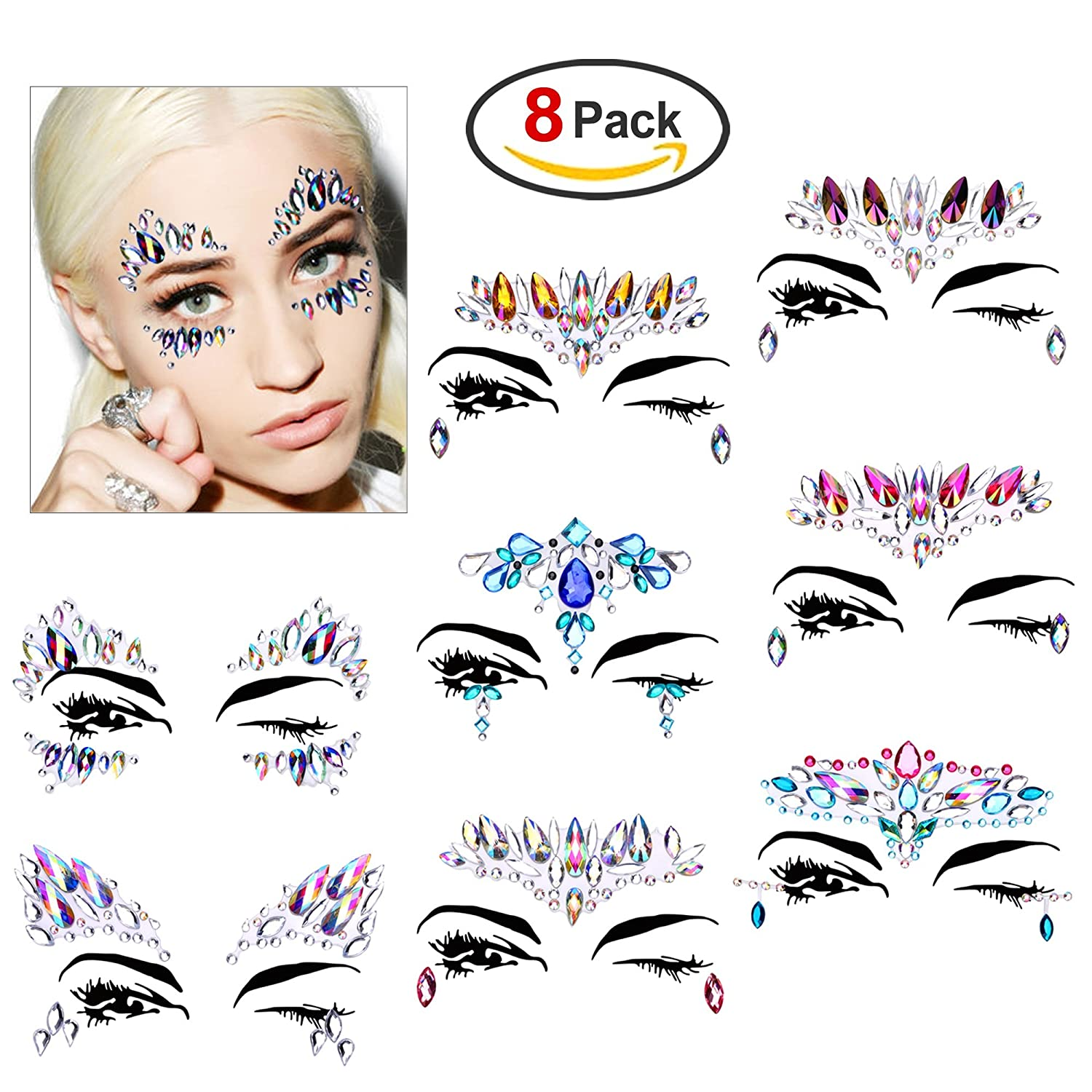 Face Gems, Konsait 8 Pack Face Gem Jewels Makeup Stickers Face Temporary Tattoo Glitter Rhinestone Adhesive for Festival Rave Party Bindi Eyes Face Body Forehead Decorations